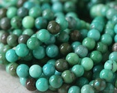 Mala Beads - Grass Opal Round Gemstone Beads - Jewelry Making Supplies - 6mm Round Gemstone (8 Inch Strand -   33 Beads)