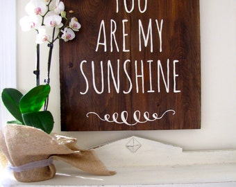 You Are My Sunshine Barn Wood Sign - Planked Typography Sign-100 year old reclaimed Barn Wood Wall Decor