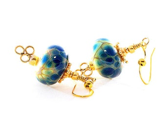Cobalt Blue Lampwork Bead Earrings. Small Dangle Earrings. Midnight Blue Beads. Gifts for Her. Glass Bead Jewelry.