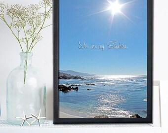 You are my sunshine wall art- Unique New Baby Gift - Beach Decor - Children's Nursery