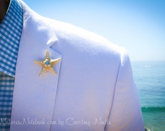 Unique Tiny Starfish Boutonniere w/ SWAROVSKI Crystal Accent - Beach Chic Wedding - Beach Wedding Lapel Pin 35 Swarovski Crystal Colors