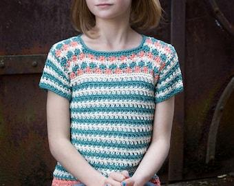 Crochet pattern, girls crochet top pattern, summer, spring, ok to sell, crochet t shirt, crochet sweater, girls top pattern, easy