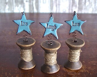 Live Laugh Love Distressed Blue Clay Stars Springing out of Twine Wrapped Vintage Wood Spools, Rustic Country Primitive Decor Inspiring Gift