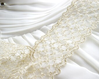 Wide Gold Lace•  Gold Embroidered Lace • Bridal Lace • Golden Shimmer Trellis