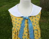 Yellow and Blue Calico Sailor Style Dress -Size 3 -Ready to Ship