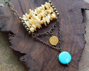 Mother of pearl necklace, ladder necklace, butter yellow, turquoise, long ,bohemian layering necklace, mermaid jewelry