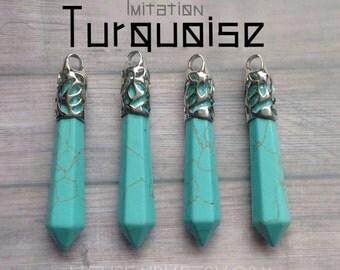 Turquoise crystal point pendant, faux, imitation gemstone