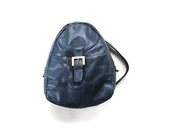 Vintage Leather Backpack / Mini Backpack / Leather Knapsack / Indigo Blue Backpack