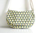 Crossbody bag - Messenger Bag in Olive Green + Natural Triangles