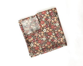 Janis - Peach Floral Pocket Square
