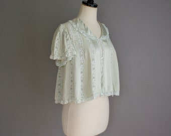 Vintage 30s SEAFOAM Green FLUTTER Sleeve LACE Trim Bed Jacket (s-m)