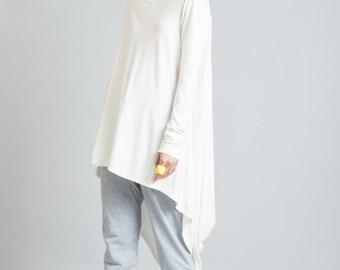 Tunic / Oversized Blouse / Loose Fitting Top / Assymetrical Blouse / Long Sleeve Shirt / marcellamoda - MB103