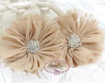 "2 pieces 2.5"" inch Adeila - NUDE Tan Shabby Frayed  Chiffon Ruffle Flowers with Rhinestone,applique , hair accessories"