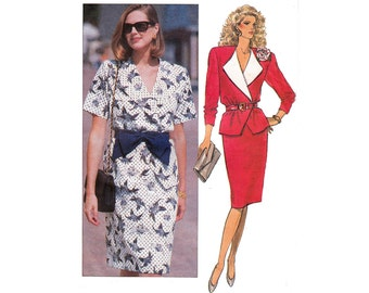 HALF PRICE Clearance Butterick 3385 Wrap Top Skirt 80s Vintage Sewing Pattern Size 6 8 10 Bust 30 1/2 31 1/2 32 1/2 inch UNCUT Factory Folds