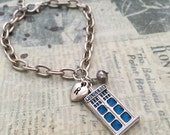 Tardis Bracelet, Police Box Bracelet, Initial Bracelet, Hand Stamped Bracelet, Best friend Gift, Gift Ideas