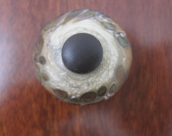 Hand Made Flamework Glass Knob- Luna