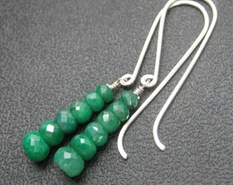 Genuine Emerald Stack Faceted Earrings - Long Sterling Silver French Hook Dangles