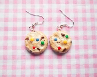 Cookie Earrings, Chocolate Chip Cookie, Rainbow Chip Cookie, Chips Ahoy Earrings, Rainbow Cookie, Food Earrings, Miniature Food, Realistic