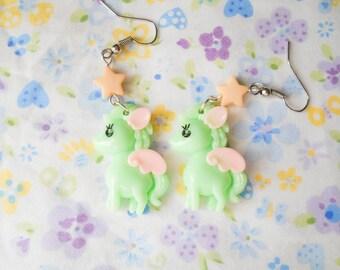 Cute Pony Earrings, Kawaii Earrings, Cute Earrings, Pegasus, Lolita, Kawaii Kei, Fairy Kei, Pegasus, Pony, Pastel Green