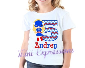 Captain America Girls Birthday Shirt Personalized