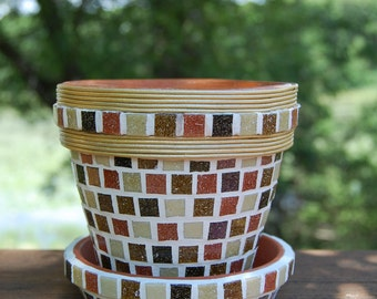 Mosaic Flower Herb Pot Planter