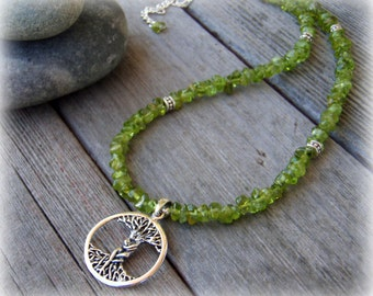 Natural Peridot and Sterling Silver Tree of Life Pendant Necklace . Dryads Embrace . Magic Gemstone Gift For Her