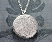 Sterling Silver Locket Necklace, Vintage Round Raised Relief Repousse Photo Pendant - Swirl Whimsy