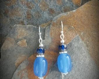 Blue Glass Earrings, Basic Blue Earrings, Glass Blue Silver Dangle Earrings, Cobalt Blue Silver Earrings, Light Blue Silver Dangle Earrings