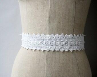 Lace Bridal Sash, Wedding Belt, Wedding Sash