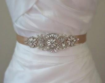 """Pearl & Crystal Satin Sash, Skinny Wedding Belt, Pearl Bridal Sash, 5.75"""" of Rhinestones, Custom Colors - MAIGRE AMELIE"""