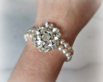 Swarovski Pearl Bracelet with Crystals, Two Strand Rhinestone Bridal Cuff, Multi-Strand Statement Bracelet  - KEIRA
