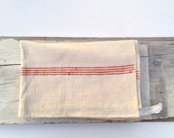 Antique linen tea towl red stripes yellow embroidered