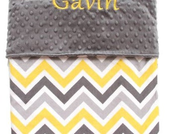 Personalized Baby Blanket, Yellow Grey Multi Chevron Double Minky Baby Blanket - Baby Shower - Newborn - Bedding -  Receiving Blanket