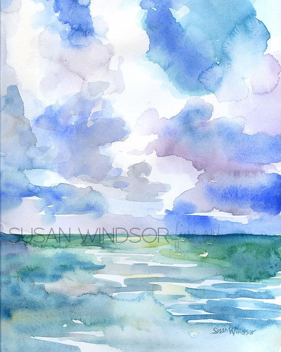 Abstract Watercolor Painting Ocean and Sky 8.5x11 Beach