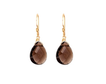 Gold Filled Earrings With Smoky Quartz Crystal - Drop Earrings - Smoky Quartz Earrings - Bridesmaid Earrings - Wedding Jewelry