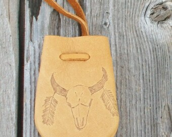 Leather medicine bag with a buffalo totem , Leather necklace bag