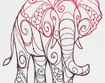 The Delicate Ones - Elephant Embroidered Cotton Kitchen Dish Towel