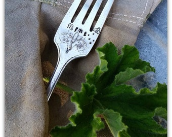 Mint Marker, Herb Marker, Vintage Silverware, Garden Marker, Spoon Marker, Plant Stake, Hand Stamped, Window Box Decor, Mojito Lovers, Bees