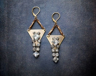Geometric Brass Triangle Statement Earrings with Vintage Rhinestone Dangles