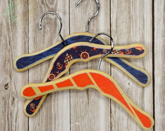 Ahoy Baby Hangers, Wooden kids clothing Hangers, Decorative Coat Hooks, Display,Photo Prop, Ahoy, Nautical Themed Colorful Wood hangers