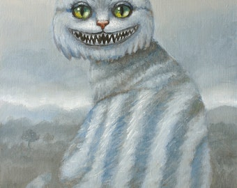 Cheshire Cat. Signed Print of an Original Oil Painting