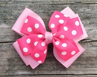 Pink Polka Dotted Hair Bow, Pink and White Hair Bow, Pink Polka Dotted Layered Hair Bow, Girls Hair Bows, Toddler Hair Bow, FREE SHIP PROMO