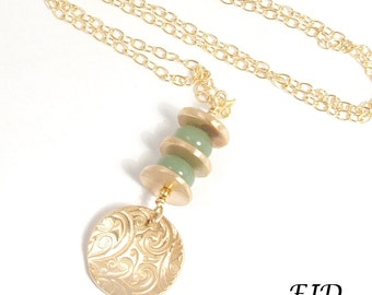 Handmade Bronze and Gold Long Necklace