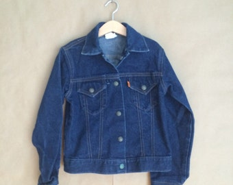 WEEKEND SALE 25% OFF / 1980's vintage 2 pocket Levis denim jacket / jean jacket / kids size medium /all cotton / Made in the U S A