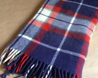 vintage 1960's plaid /wool blanket / Americana / cabin / cottage / camping/ picnic