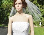 Single Tier Veil Cut Raw Edge Bridal Wedding White Diamond Ivory