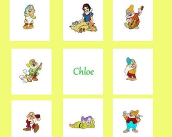 Custom Embroidered Snow White and the Seven Dwarfs Baby / Toddler Quilt -choose the fabrics -Crib Bedding available - Payment Plan available