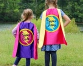 GIRLS PERSONALIZED SUPERHERO Cape - Ships Fast - Choose your colors - Full Name Customized Present - Kids Halloween Costume
