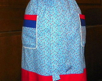 Extra Long Waist Apron Red White and Blue Handmade for Kitchen Cooking Craft Hostess Activities Excellent Clothing Protector