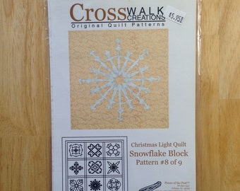 Christmas Light Quilt by Cross Walk Creations - Pattern #8 of 9 - Snowflake Block